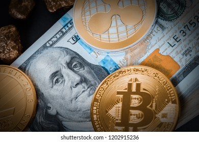 finance background, cryptocurrency and hundred dollar bills