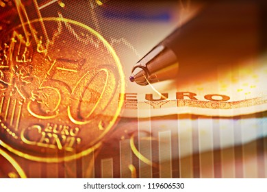 Finance background with euro money.