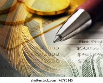 Finance background with money.
