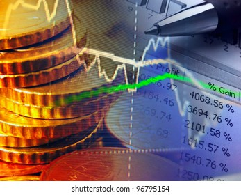 Finance background with money and graph.