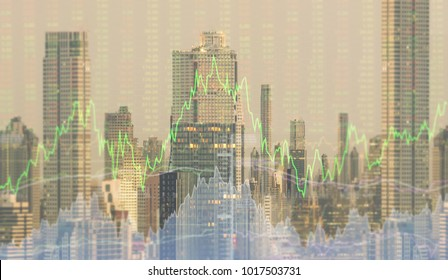 finance background. up trend line graph stock market and bar chart volume trading with index forex market in business city background.