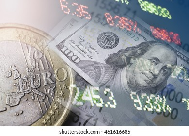 Finance, banking concept. Euro coins, us dollar banknote close-up. Abstract image of Financial system with selective focus, toned, double exposure
