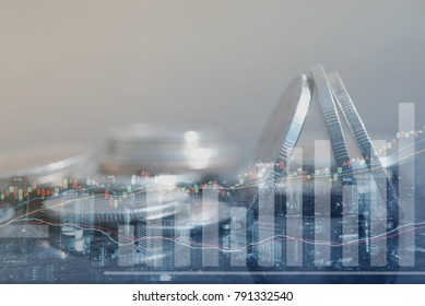 Finance and banking, economic growth, business investment  concept, double exposure close up coins and the cityscape with stock graph and copy space for stock market or financial background