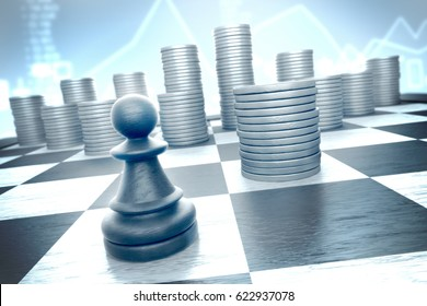 Finance: Brave chess piece moves to capture earnings on a blue  infographics background