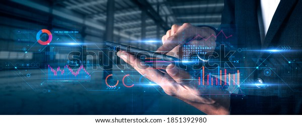 Finance business investment strategy competition, investment security data analytic artificial intelligence technology finger point futuristic graph chart stock exchange data finance symbol screen