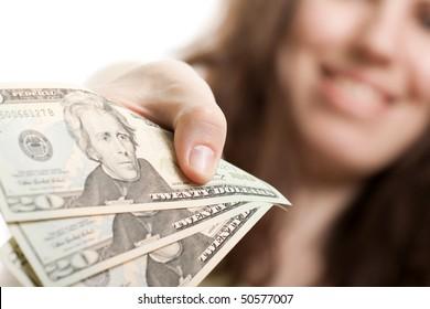 Finance businesswomen hand holding dollar currency