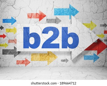 Finance concept:  arrow with B2b on grunge textured concrete wall background, 3d render