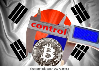 Finance concept, Bitcoin on the background a Flag  of South  Korea, bitcoin control, bitcoin in a caliper, a board with a trend of crypto currency