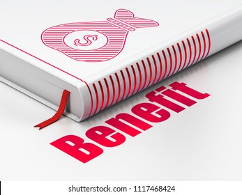 Finance concept: closed book with Red Money Bag icon and text Benefit on floor, white background, 3D rendering