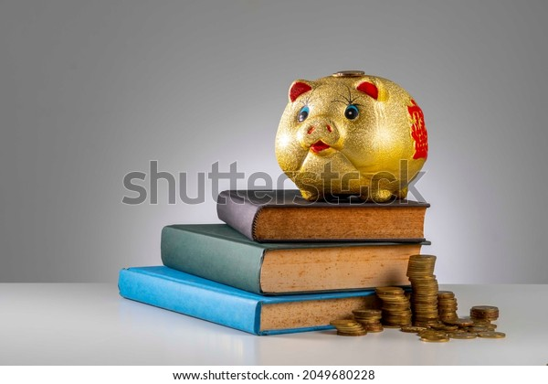 Finance Concept: Copy Space and arrangement of gold coin stack, piggy bank and old book