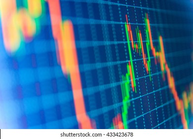 Finance concept. Financial graph on a computer monitor screen. Background stock chart. Analysing stock market data on a monitor. Blue background with stock chart. Tools of technical analysis.