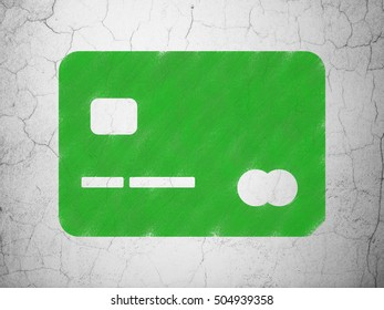 Finance concept: Green Credit Card on textured concrete wall background