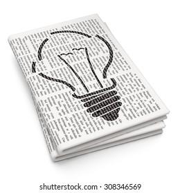Finance concept: Light Bulb on Newspaper background