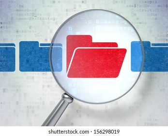 Finance concept: magnifying optical glass with Folder icons on digital background, 3d render