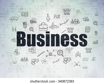 Finance concept: Painted black text Business on Digital Paper background with  Hand Drawn Business Icons