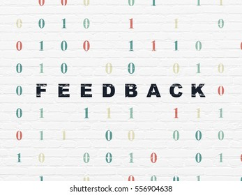Finance concept: Painted black text Feedback on White Brick wall background with Binary Code