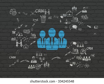 Finance concept: Painted blue Business People icon on Black Brick wall background with Scheme Of Hand Drawn Business Icons