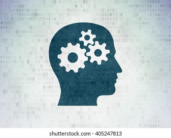 Finance concept: Painted blue Head With Gears icon on Digital Paper background