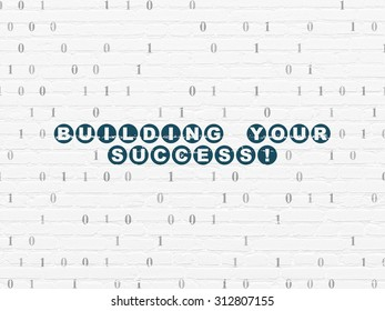 Finance concept: Painted blue text Building your Success! on White Brick wall background with Binary Code