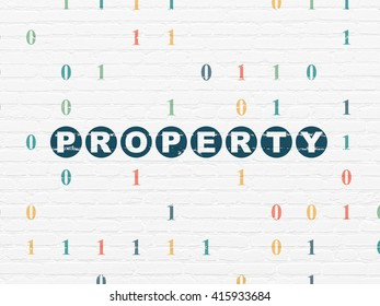 Finance concept: Painted blue text Property on White Brick wall background with Binary Code