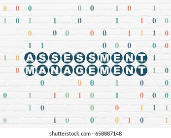 Finance concept: Painted blue text Assessment Management on White Brick wall background with Binary Code