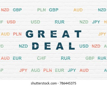 Finance concept: Painted blue text Great Deal on White Brick wall background with Currency