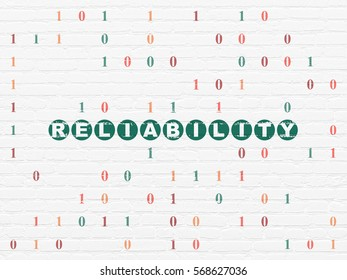 Finance concept: Painted green text Reliability on White Brick wall background with Binary Code