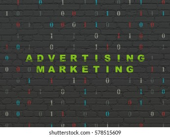 Finance concept: Painted green text Advertising Marketing on Black Brick wall background with Binary Code