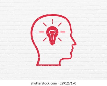Finance concept: Painted red Head With Lightbulb icon on White Brick wall background
