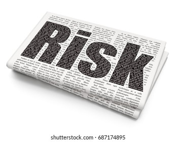 Finance concept: Pixelated black text Risk on Newspaper background, 3D rendering