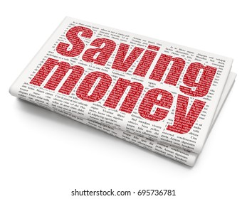Finance concept: Pixelated red text Saving Money on Newspaper background, 3D rendering