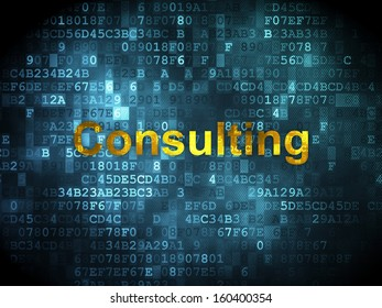Finance concept: pixelated words Consulting on digital background, 3d render