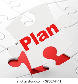Finance concept: Plan on puzzle background