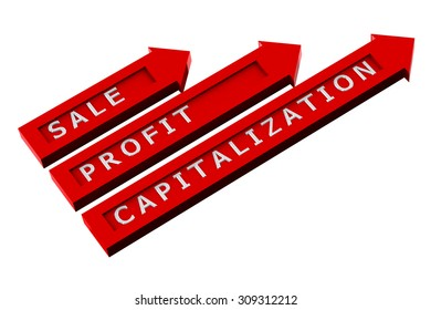Finance concept: red arrows with words, sale, profit, capitalization isolated on white background. 3D render.
