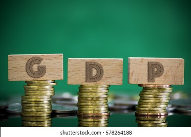Finance Concept with Stack of Coins - GDP (Gross domestic product) written on.