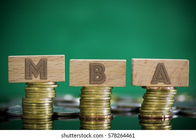 Finance Concept with Stack of Coins - MBA (Master of Business Administration) written on