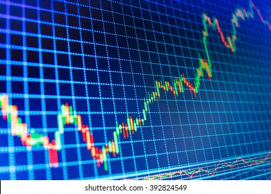 Finance concept. Stock trade live. Background stock chart. Candle stick graph chart of stock market investment trading. Stock market quotes on display. Analysing stock market data on a monitor.