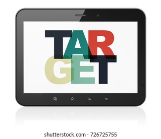 Finance concept: Tablet Computer with Painted multicolor text Target on display, 3D rendering