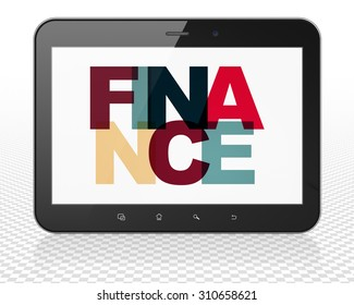Finance concept: Tablet Pc Computer with Painted multicolor text Finance on display