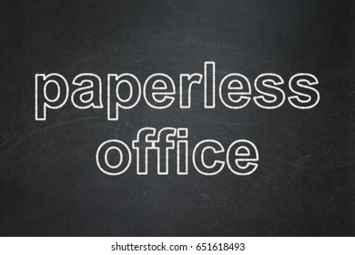 Finance concept: text Paperless Office on Black chalkboard background