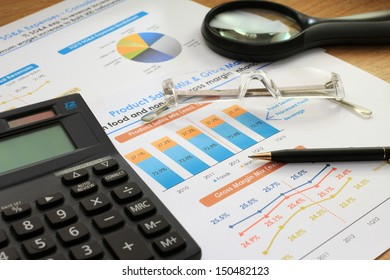 Finance documents on the working desk
