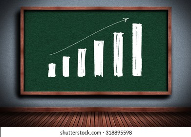 Finance, Economics or education graph on chalkboard