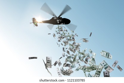 finance, economy and monetary policy concept - helicopter dropping money in sky