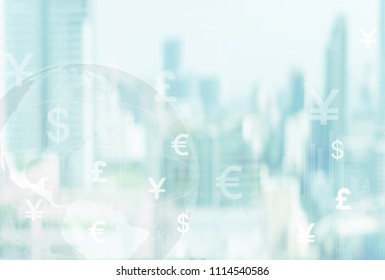 finance global and currency investment concept. world currency icon with business city background.