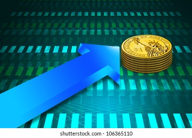 Finance Growth. gold coin and graph