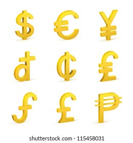 Finance icon currency gold button set