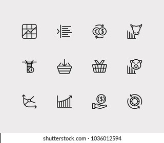 Finance icons set. Rally and finance icons with margin, stock symbol and invest money. Set of elements including analysis for web app logo UI design.