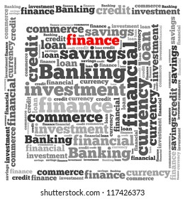 Finance info-text graphics and arrangement concept on white background (word cloud)