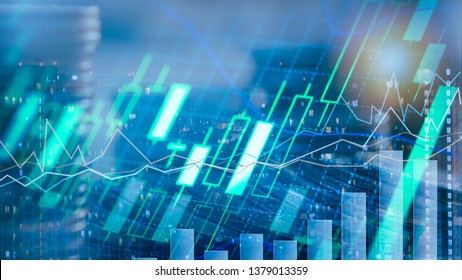 Finance investment concept Background, Double exposure of city night and stack of coins for financial investor, Forex trading candlestick chart, Cryptocurrency  Digital economy.