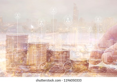 Finance and investment concept, Double exposure of finger putting and stacked of coins and night city